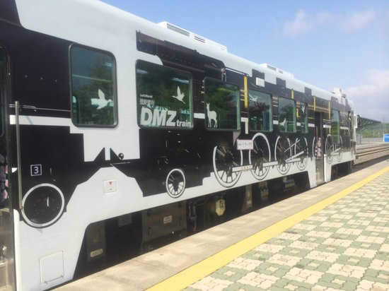 The new DMZ train has 3 train cars, each with a different design [this nearest to train driver].