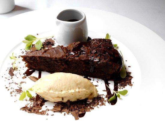 Christopher's: hazelnut choc cake and cream