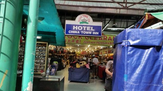 Hotel China Town Inn Sign On Petaling Street As View Is Obstructed By