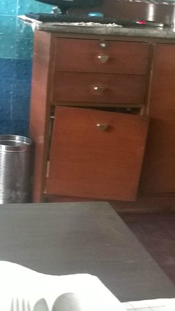 The Peerless Inn: Dust Bin. It faces a guest table!!!
