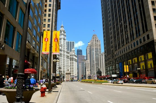 Comfort Suites Michigan Avenue / Loop: view up Michigan Avenue (hotel is on left)