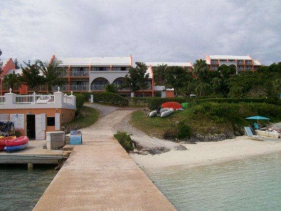 Grotto Bay Beach Resort & Spa: View form the sea. with dive shop