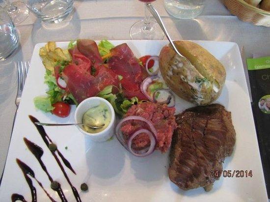 Le Chapon Fin : le menu du jour assiette trio de boeuf