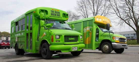 The Maine Brew Bus: Our fleet! Lenny, the original Maine Brew Bus on the left. His new sister Mabel is on the right.