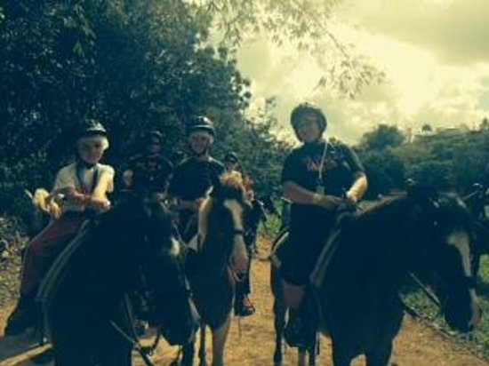 Carabali Rainforest Park : My family on Nina, Arrito and Rodney