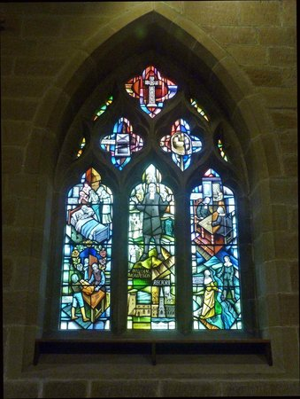 Eyam Parish Church of St Lawrence: Plague window in St. Lawrence's Church, Eyam