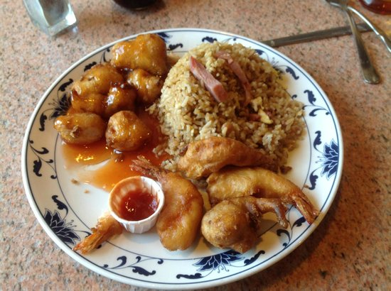 Golden Dragon: Orange Chicken, Shrimp, Pork fried Rice