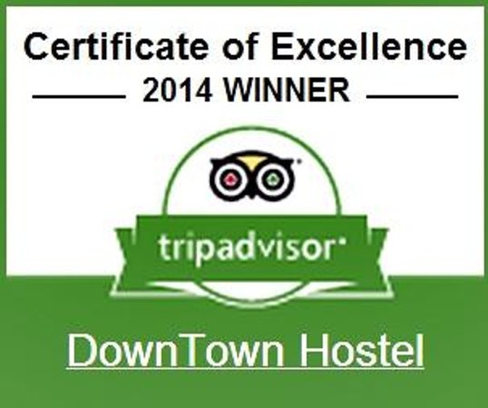 DownTown Hostel: Certificate of excellence for 2014