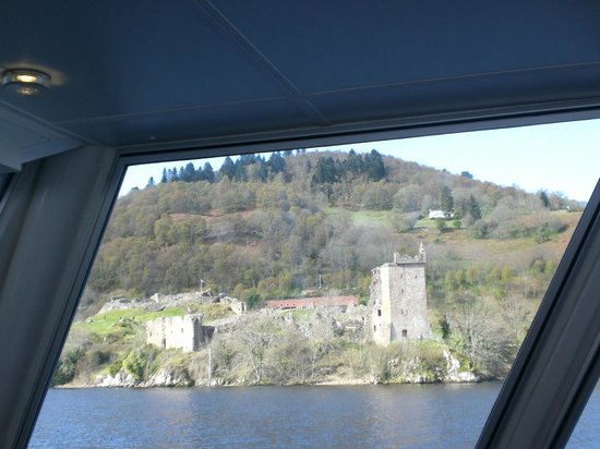 Loch Ness by Jacobite: View of Urquhart castle from the inside of the boat