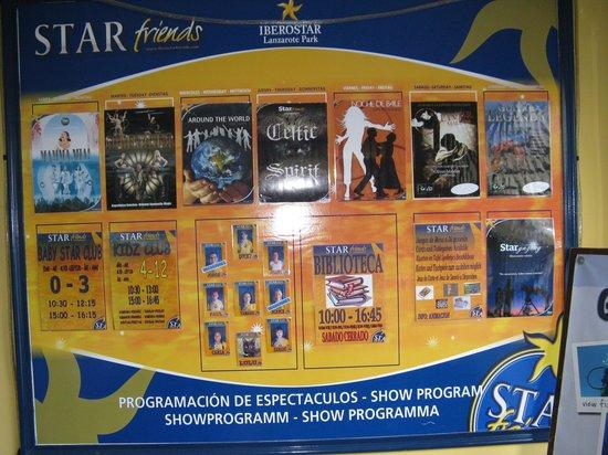 IBEROSTAR Lanzarote Park : Evening entertainment schedule
