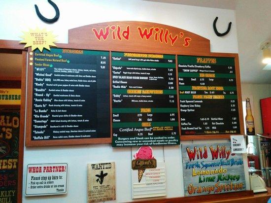 Wild Willy's Burgersj: Awesome menu!