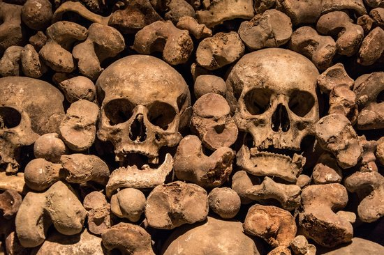 Ossuary at the Church of St James: Skulls in the wall