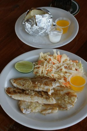 Rainbow Grill: fresh grilled Grouper with veggies  & a baked potato
