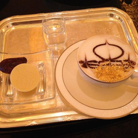 Emirates Palace: 24 karat Gold Afternoon Cappuccino with White Chocolate and Date