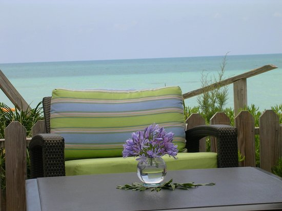 View from Breezes at Cambridge Beaches resort. The turquoise water couldn't be any closer.