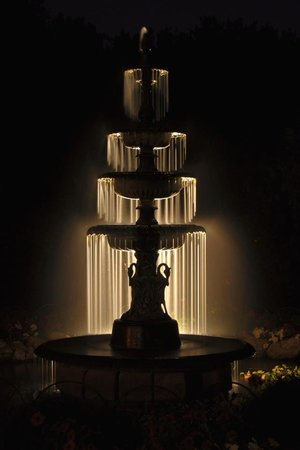 Habberstad House: Nighttime shot of our fountain