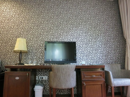 Hotel Palic Resort: TV and a table