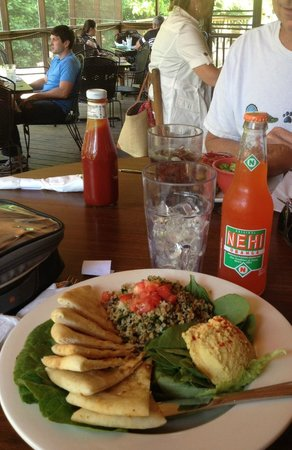 Cafe at Williams Hardware: Lunch of Tabouli and hummus and Nehi