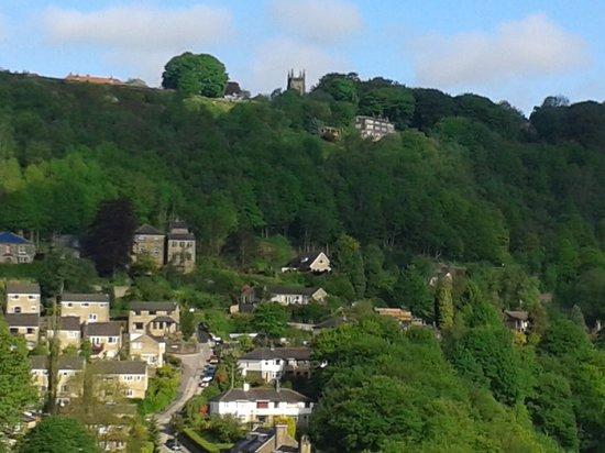 Thorncliffe B&B Hebden Bridge: View of Heptonstall village from bedroom
