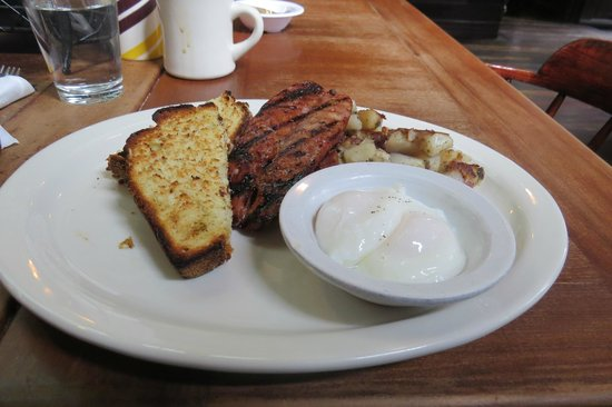 Dottie's True Blue Cafe : Poached eggs and sausage