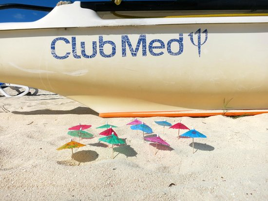 Club Med Columbus Isle: My Idea Of Perfect Happiness: Being able to make sand parasols for all my little sand crab frien