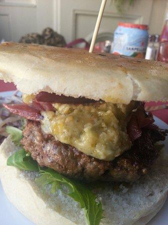 The Greedy Cow: My delicious Stilton cheese burger.
