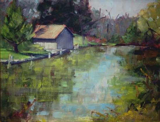 """The Riverside Inn: """"Boathouse Impression"""" painting of view near hotel"""