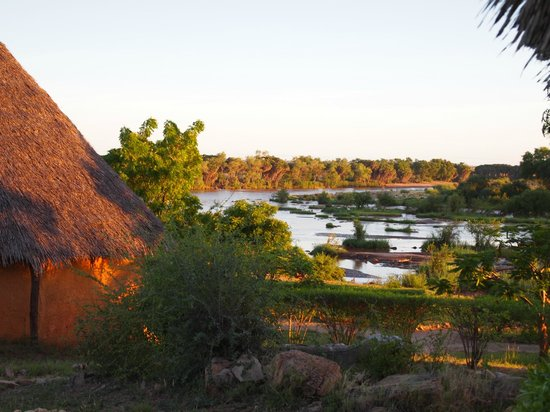 Tsavo Buffalo Camp: Вид с крыльца в 6 утра