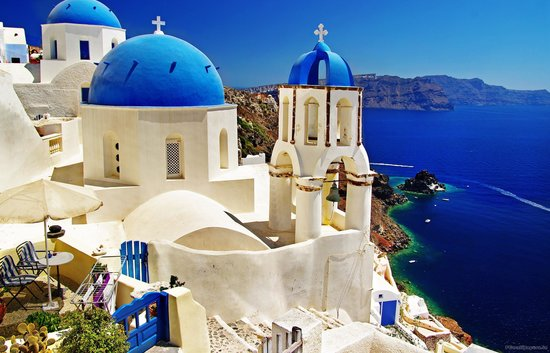 Athiri: from our terrace, a view at Santorini - wall picture