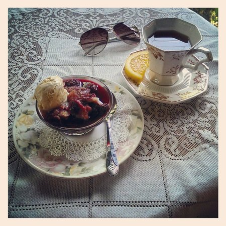 Wild Plum Tea Room: Blackberry cobbler with cinnamon ice cream! (and tea, of course)