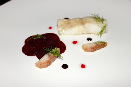Purnell's: Confit Brixham turbot - honey pickled beetroot - smoked eel - dill