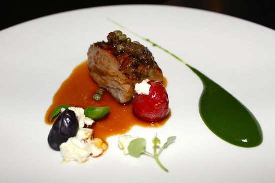 Purnell's: Slow cooked neck of lamb - basil emulsion - confit tomato - feta - spring salad
