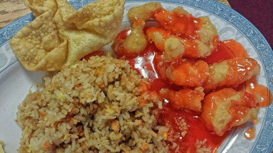 Chen's Dynasty: (Partial) Lunch combination: Crab puffs, sweet & sour chicken, pork fried rice with soup & tea