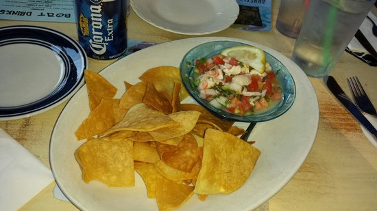 Clare and Don's Beach Shack : Ceviche with homemade chips.