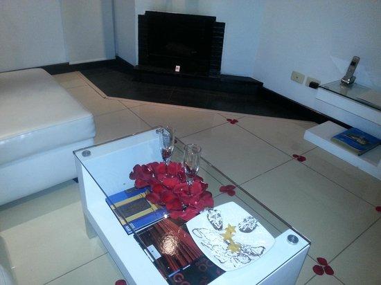 Hotel 104 Art Suites: Sala con vino, petalos y chimenea