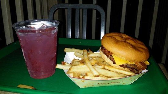 Restaurantosaurus : Angus Beef Bacon Cheeseburger with Fries.  Rum Mango Lemonade