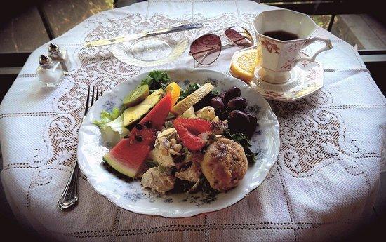 Wild Plum Tea Room: Chicken salad with fruit and wild plum scone!