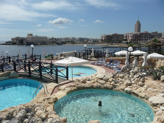 Radisson Blu Resort, Malta St Julian's: small pools on sea front belonging to hotel