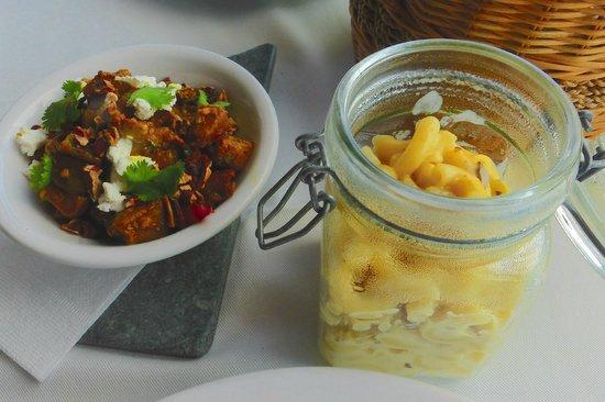 Sheer Rocks : Spiced Aubergine with feta - Porcini & Truffle Mac & cheese served in a mason jar