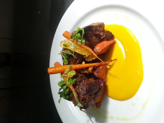 Fresh: Marinated Kangeroo rump with roasted baby vegetables and a carrot and cumin emulsion