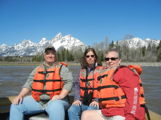 Grand Teton Lodge Company Tours: The 3 of us with Tetons and Snake River as a back drop