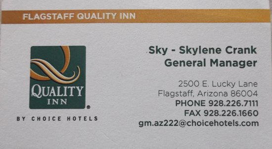 Quality Inn - Flagstaff / East Lucky Lane: Business card / Carte d'affaire.