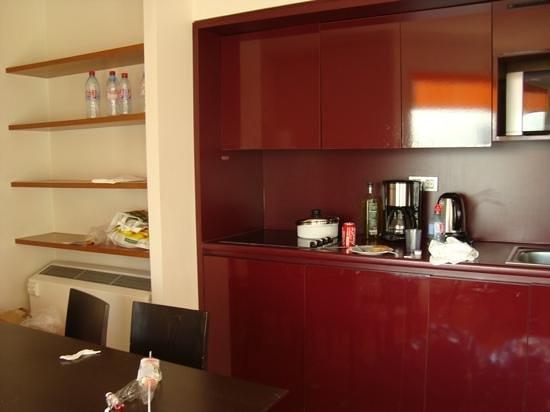 Adagio Paris Tour Eiffel : cozinha. dentro dos armarios tem geladeira e lava louças