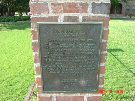 The College of William and Mary : College Camp plaque