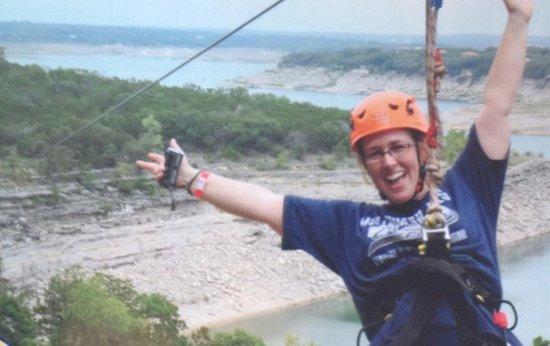 Lake Travis Zipline Adventures: Backwards leap!