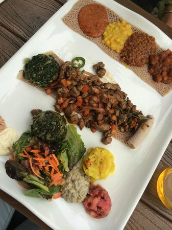 desta ethiopian kitchen combined vegetarian platter and lamb tibs platter - Desta Ethiopian Kitchen