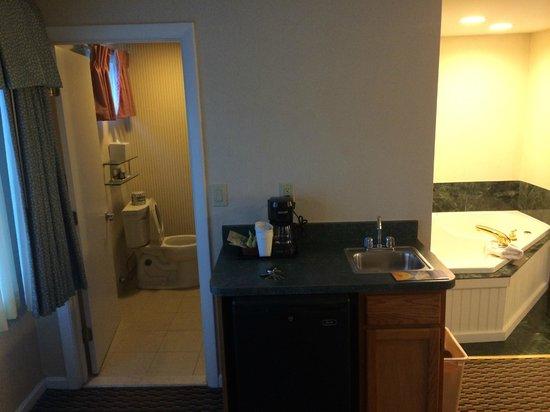 Hyannis Harbor Hotel: View of bathroom, minibar (refrigerator below)