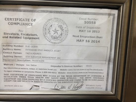 Extended Stay America - Lubbock - Southwest : Expired elevator inspection