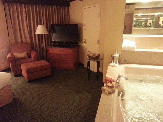 Hilton Minneapolis/St. Paul Airport Mall of America : Bed, HDTV, Chair and Huge Whirlpool tub