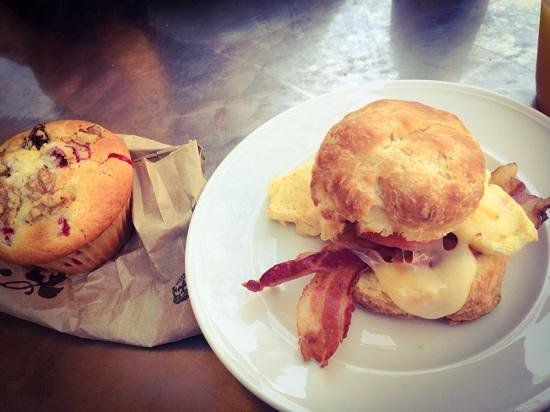 South End Buttery: Egg, bacon, biscuit sandwich and a cranberry muffin!